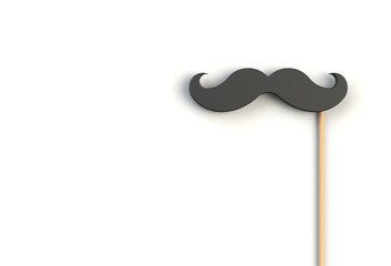 Fake black mustache on white background, 3D rendering