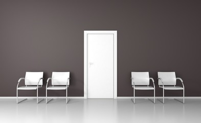 Nice waiting room with four white chairs 3D render