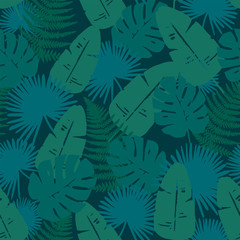 Trendy Tropical Leaves Background. Endless and Seamless.