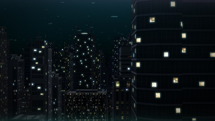 Night city in tall buildings 3d illustration
