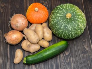 Assortment of vegetables, pumpkin potatoes zucchini and onions