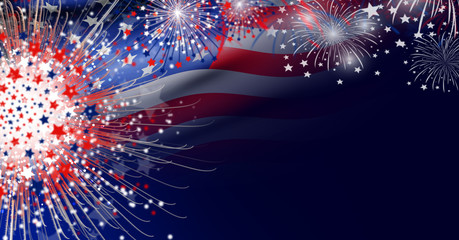 USA flag with firework background design for USA 4 july independence day