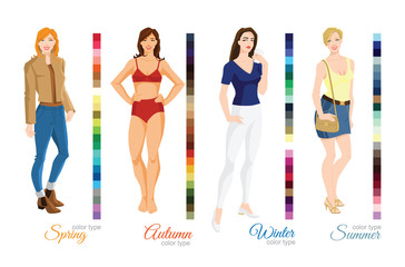 Vector illustration of seasonal color palette for spring, summer, winter and autumn type. Woman in different clothes