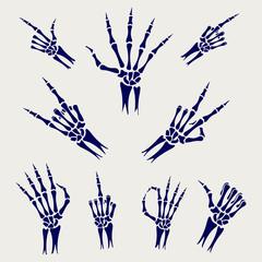 Skeleton hands signs on grey background, vector illustration