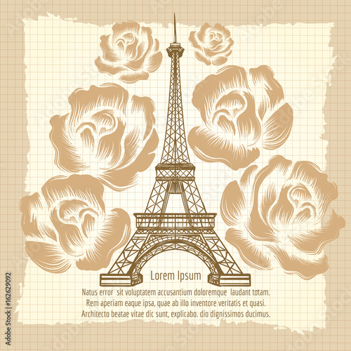 Vintage France Poster Design Vector Romantic Background With Eiffel Tower And Roses