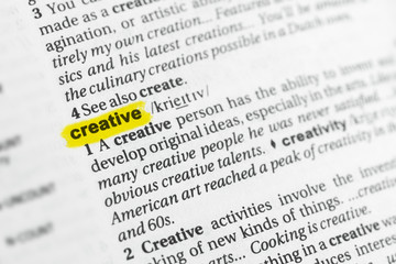 "Highlighted English word ""creative"" and its definition at the dictionary"