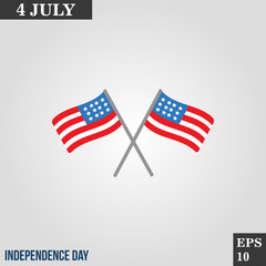 Flag icon in trendy flat style isolated on grey background. Usa independence day symbol for your design, logo, UI. Vector illustration, EPS10.