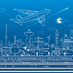 Aviation infrastructure. Airport scene, airplane fly, people get on the plane. Night city on background, vector design art