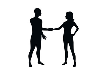 Man and woman silhouette vector. People shaking hands icon. Silhouette of people