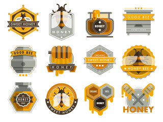 Set bee logo labels for honey products organic farm emblem natural sweet product hight quality healthy food vector illustration.