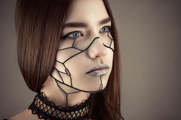 beautiful girl make up in cyberpunk style