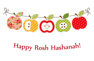 Cute bright apples garland as Rosh Hashanah Jewish New Year symbols