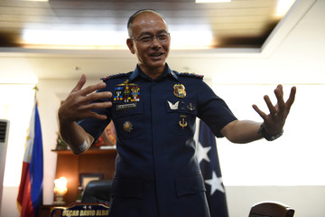 National Capital Region Police Director Oscar Albayalde gestures during an interview with Reuters in Taguig City