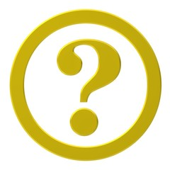 question mark 3d interrogation point asking sign gold yellow button with ring query icon isolated on white background for business presentation
