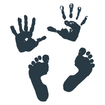 Imprint of children s palms and feet.