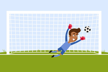 Brave asian cartoon goalkeeper jumping to save a penalty kick