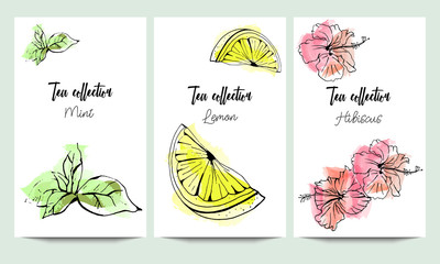Vertical vector banners of hand drawn tea collection. Mint, hibiscus, lemon. An idea for design, invitation, save the date card.