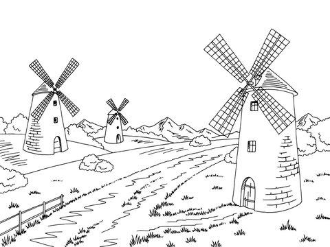 Road mill graphic black white landscape sketch illustration vector