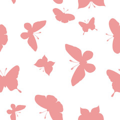 Butterfly seamless pattern vector illustration. Pink butterflies on a pink background. Seamless butterflies pattern. Vector illustration