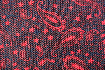 Red and black fabric with paisley pattern