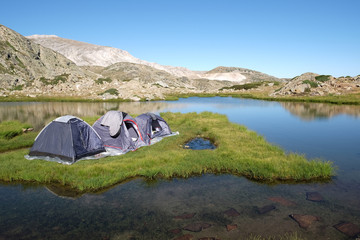 Camping on island on Sakligol (it means Secret Lake)​