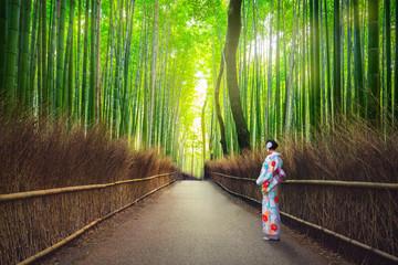 Woman in kimono at bamboo forest of Arashiyama near Kyoto, Japan Wall mural