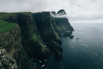 Layers of cliffs along the Faroese shore