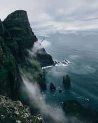 Bird flying along Faroese Cliffs