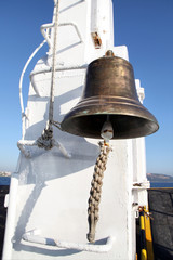 big and bronze ship bell on board