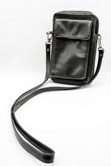 Vintage black leather pocket bag