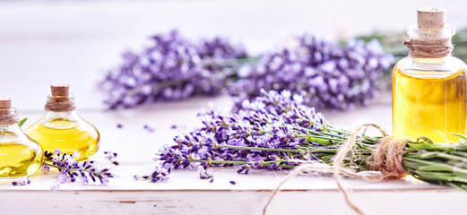 Fotobehang Lavendel Panorama banner of lavender and essential oil