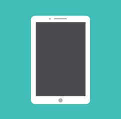 Tablet flat icon in ipad style. Tablet computer with blank screen. Vector stock.