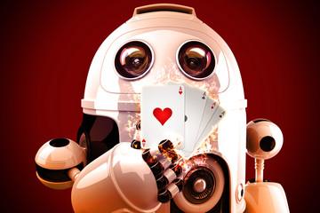 Robot playing poker. 3D illustration