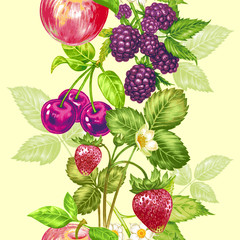 Vector seamless floral pattern with fruits and berries.