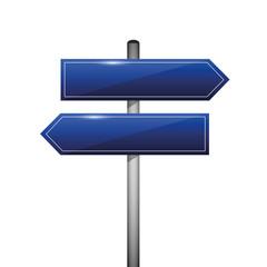 wegweiser straßenschild links und rechts blau