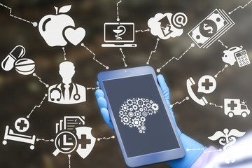 Health Care Intelligence Creative Technology Concept. Doctor holds tablet computer with brain gear icon on virtual screen. Medical Analytical Thinking Idea Brainstorm.