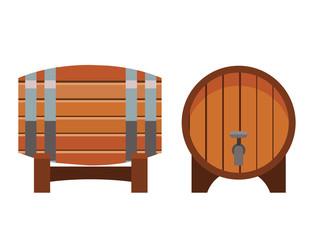 Wooden barrel vintage old style oak storage container beverage fermenting distillery drum lager vector illustration.