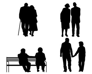 Elderly couples silhouettes