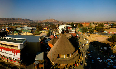 Souvenir shop in the form of traditional Basotho hat aka mokorotlo at Maseru, Lesotho