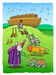 Noah invites animals to enter the Ark