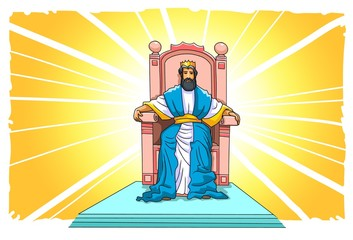 Jesus sits on his throne in heaven