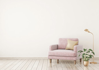 Interior poster mock up with pink velvet armchair, pillow and plants on light beige wall background with free space on left. 3d rendering.