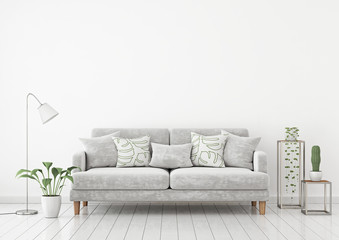 Livingroom interior wall mock up with gray fabric sofa and pillows on white wall background with free space on top. 3d rendering.