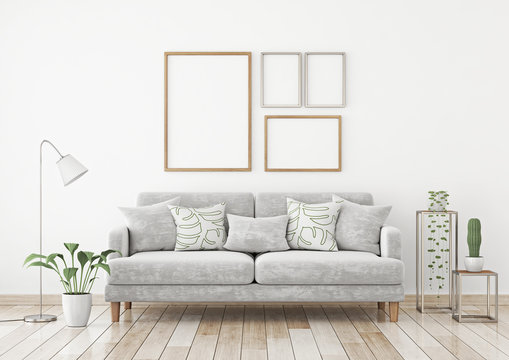 Interior poster mock up with four frames composition on the wall in scandinavian style livingroom. 3d rendering.