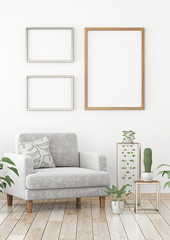Interior poster mock up with three frames composition on the wall in scandinavian style livingroom. 3d rendering.