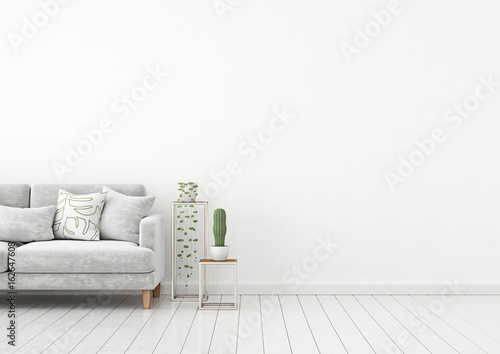 Scandinavian Style Interior Wall Mock Up With Grey Velvet Sofa And Pillows  On White Wall Background