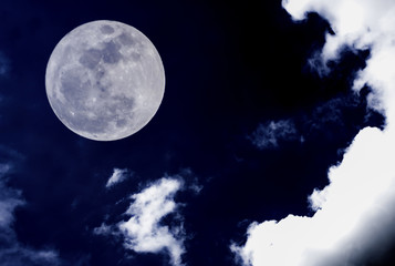 Nature background. Attractive photo of night sky with cloudy and super moon