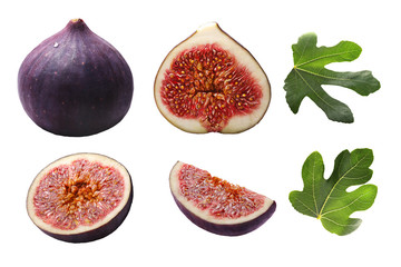 Figs whole and sliced (Ficus carica), leavesl,  paths