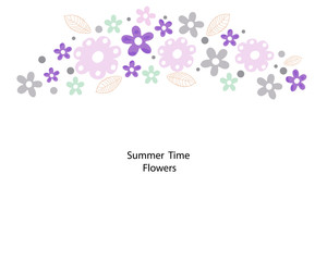 Simple summer time flowers greeting card background