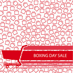 happy boxing day sale. red gift box on cart. text isolated on white  background. vector illustration.